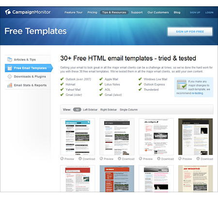 the first site i would like to share features over 30 free html email templates at wwwcampaignmonitorcom - Free Email Newsletter Templates